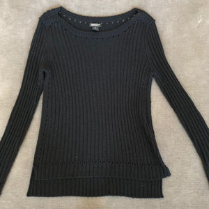 Lucky Brand Womens Black Ribbed Sweater - Med